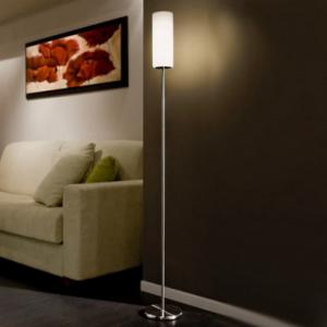 Lampadaire scandinave en métal et verre blanc TROY